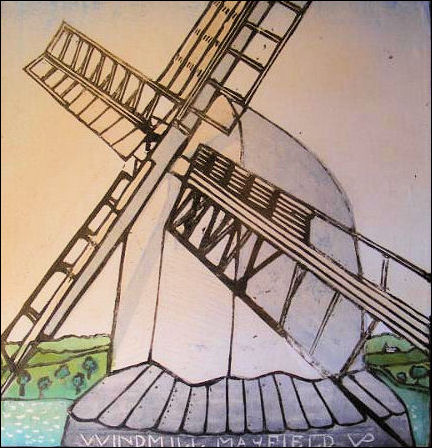 Painting of Argos Hill windmill